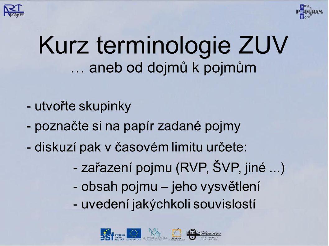 Kurz terminologie ZUV … aneb od dojmů k pojmům - utvořte skupinky