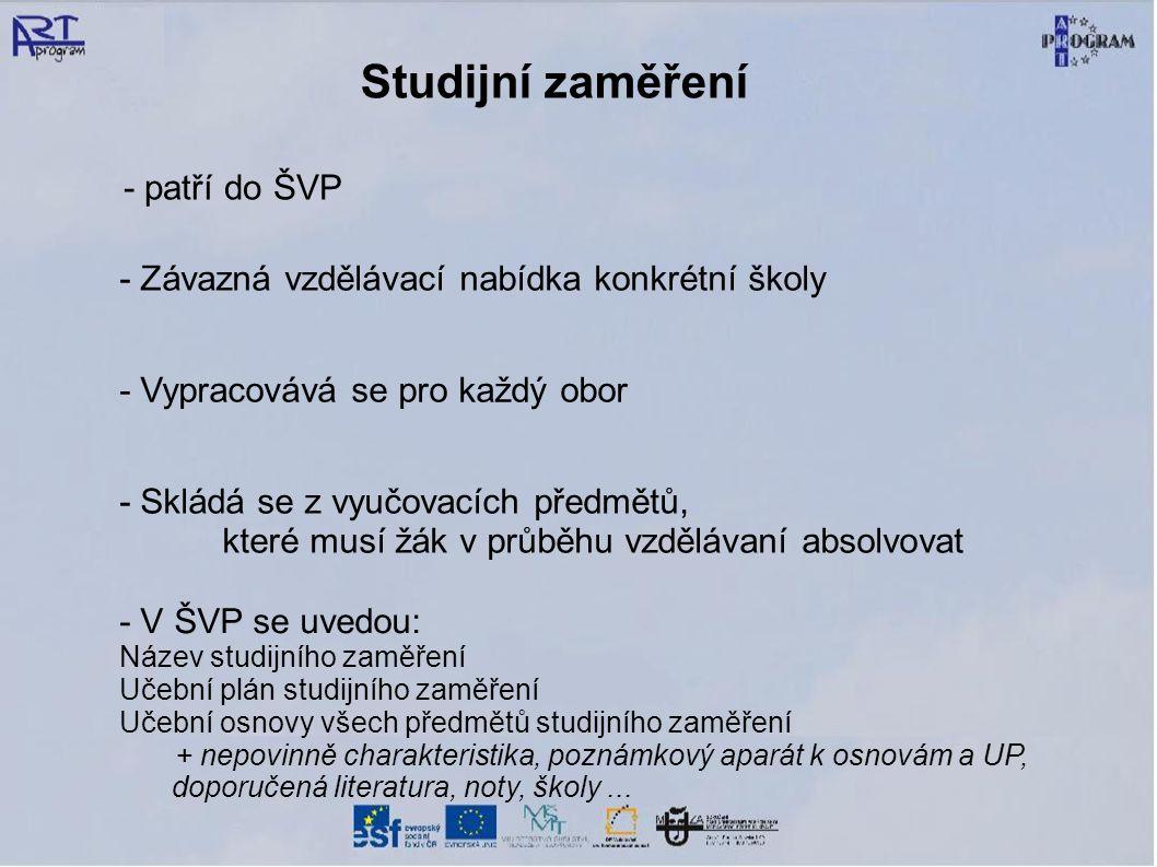 Studijní zaměření - patří do ŠVP