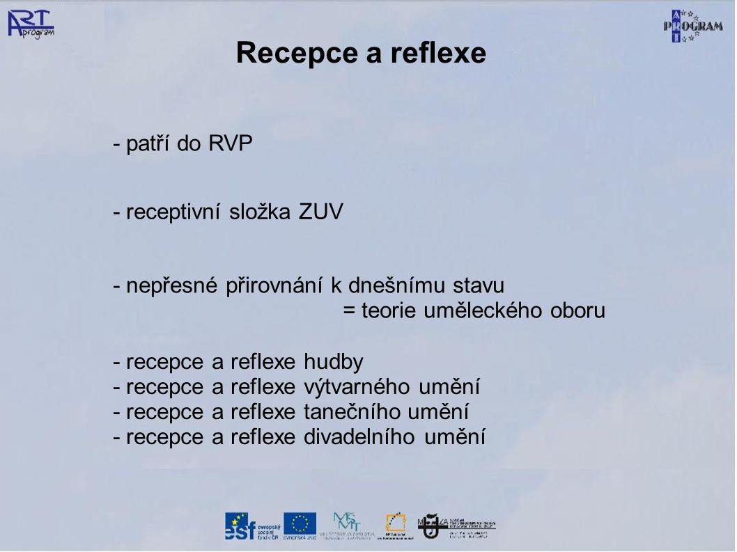 Recepce a reflexe - patří do RVP - receptivní složka ZUV