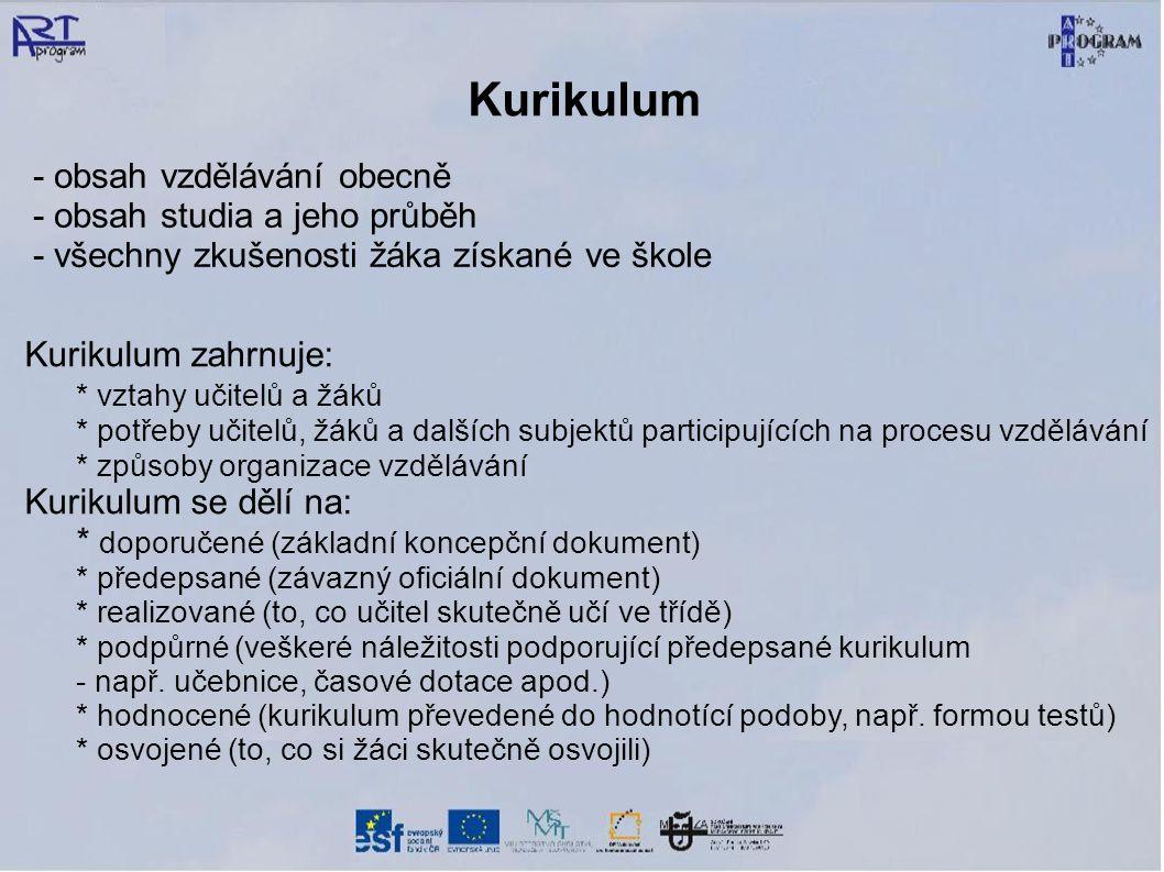 Kurikulum - obsah vzdělávání obecně - obsah studia a jeho průběh