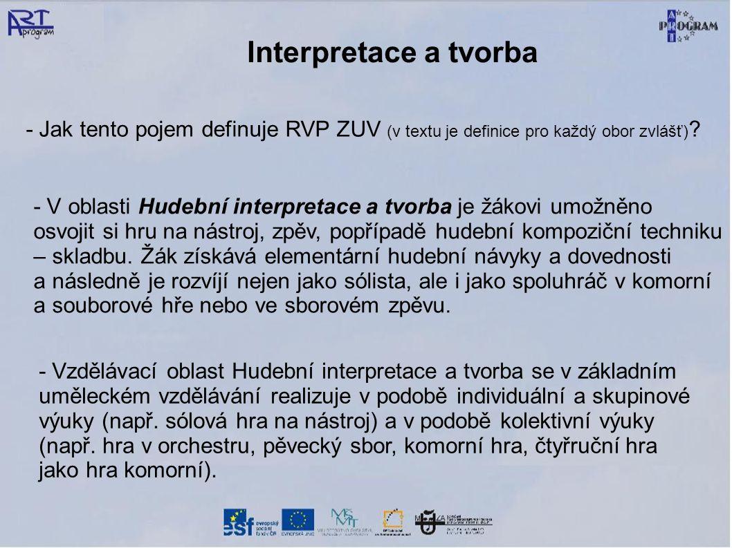 Interpretace a tvorba - Jak tento pojem definuje RVP ZUV (v textu je definice pro každý obor zvlášť)