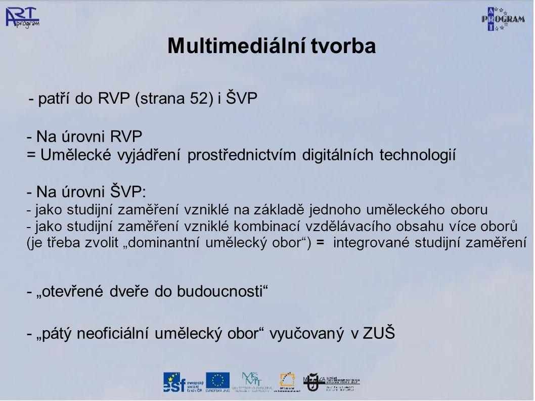 Multimediální tvorba - patří do RVP (strana 52) i ŠVP - Na úrovni RVP
