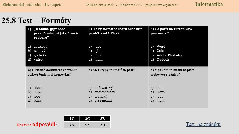 25.8 Test – Formáty Test na známku