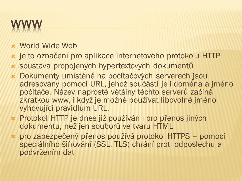 www World Wide Web. je to označení pro aplikace internetového protokolu HTTP. soustava propojených hypertextových dokumentů.