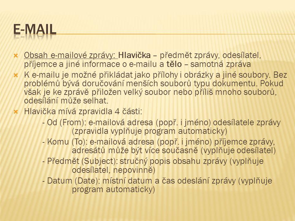 E-mail Obsah e-mailové zprávy: Hlavička – předmět zprávy, odesílatel, příjemce a jiné informace o e-mailu a tělo – samotná zpráva.