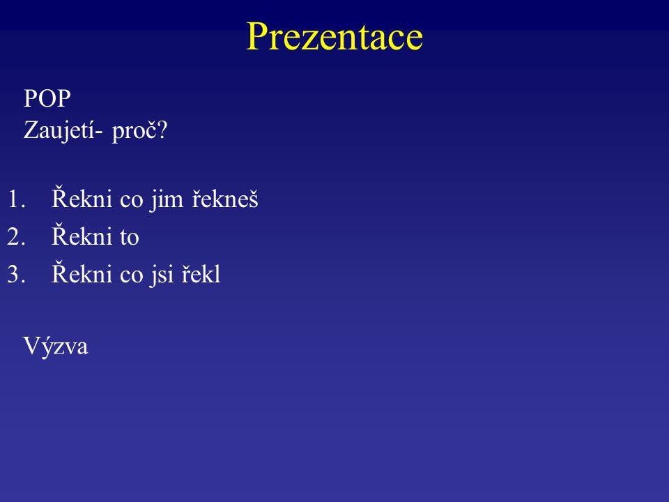 Prezentace POP Zaujetí- proč Řekni co jim řekneš Řekni to