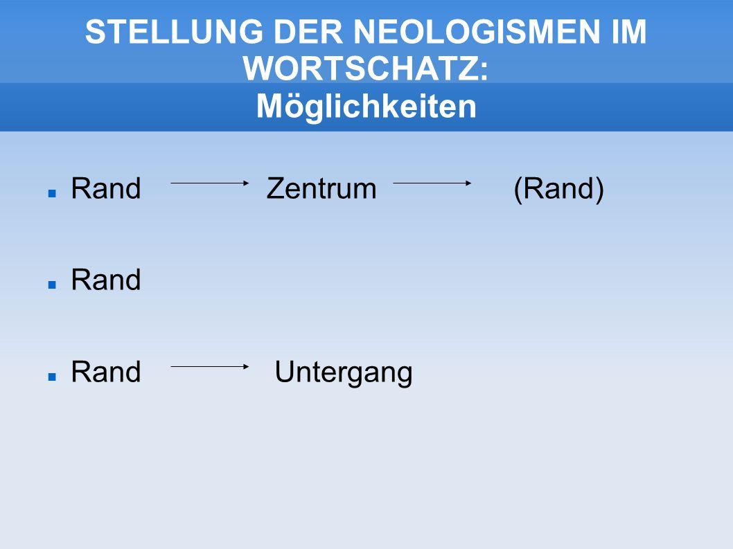 STELLUNG DER NEOLOGISMEN IM WORTSCHATZ: Möglichkeiten