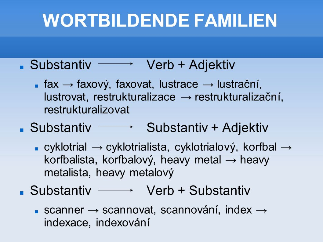 WORTBILDENDE FAMILIEN