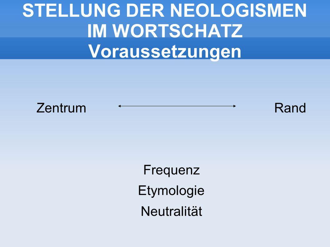 STELLUNG DER NEOLOGISMEN IM WORTSCHATZ Voraussetzungen