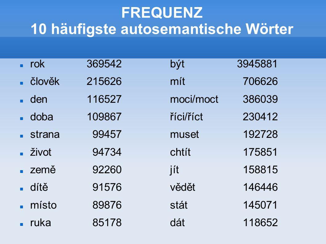 FREQUENZ 10 häufigste autosemantische Wörter