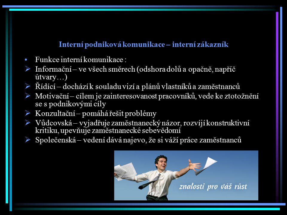 Interní podniková komunikace – interní zákazník