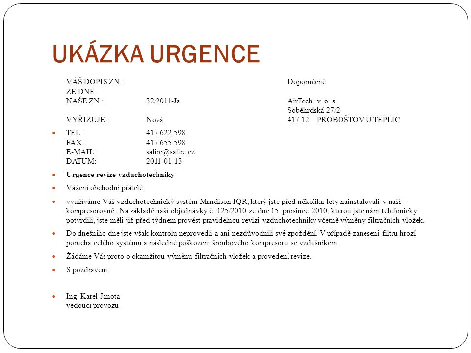 UKÁZKA URGENCE