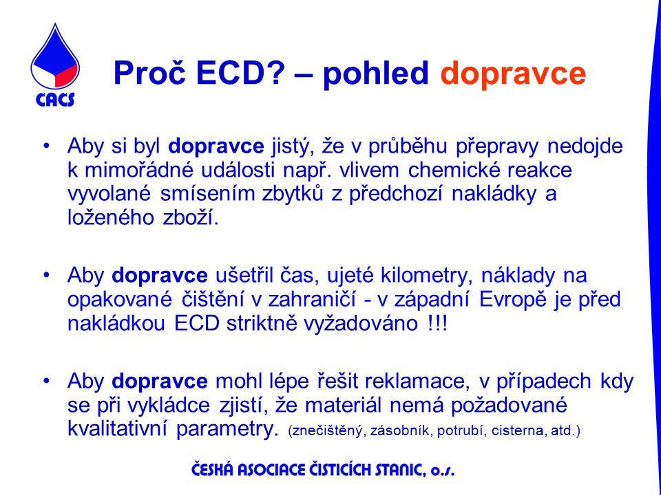 Proč ECD – pohled dopravce