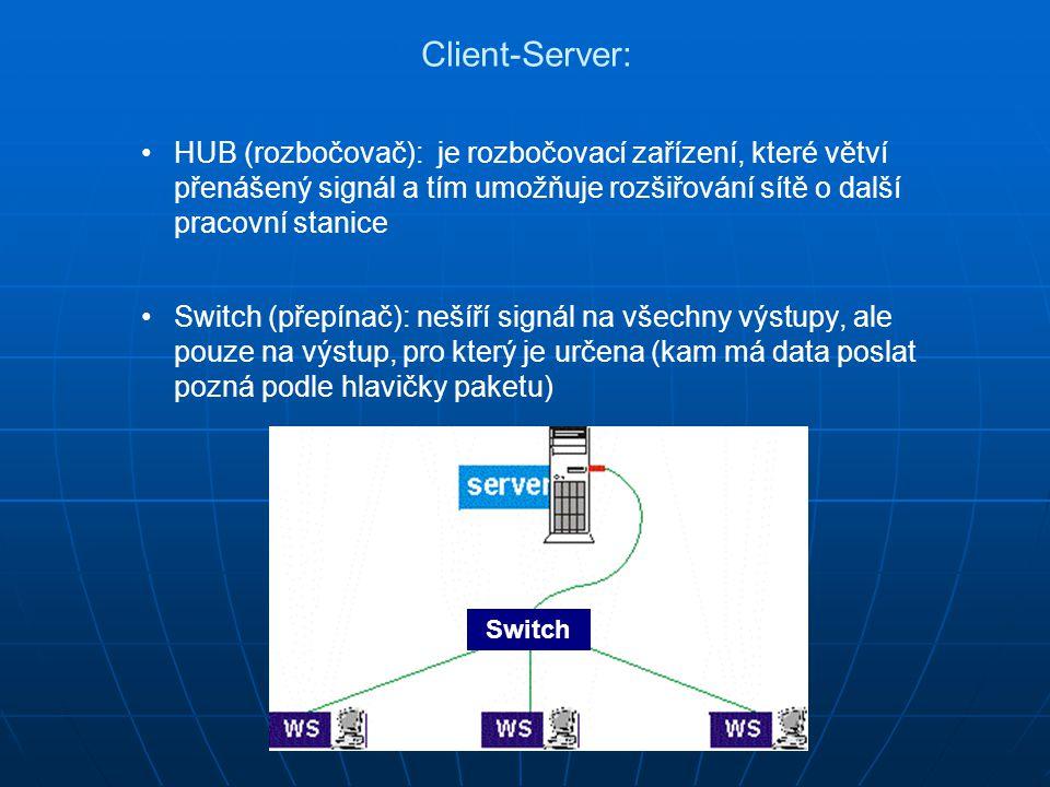 Client-Server: HUB (rozbočovač): je rozbočovací zařízení, které větví přenášený signál a tím umožňuje rozšiřování sítě o další pracovní stanice.