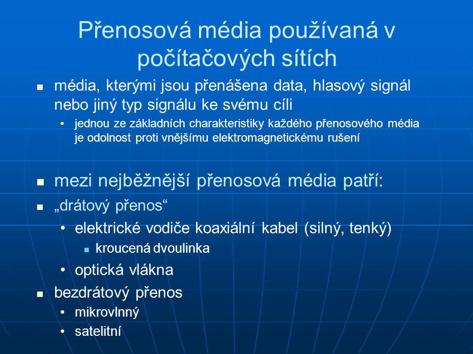 Přenosová média používaná v počítačových sítích