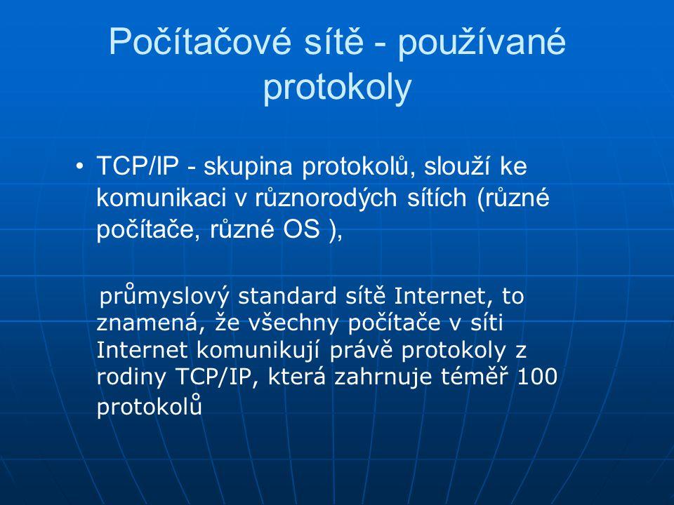 Počítačové sítě - používané protokoly