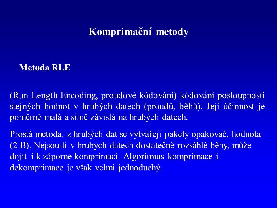 Komprimační metody Metoda RLE