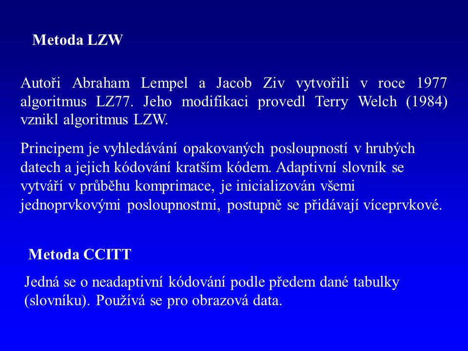 Metoda LZW Autoři Abraham Lempel a Jacob Ziv vytvořili v roce 1977 algoritmus LZ77. Jeho modifikaci provedl Terry Welch (1984) vznikl algoritmus LZW.