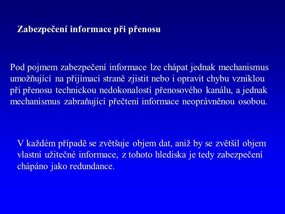 Zabezpečení informace při přenosu