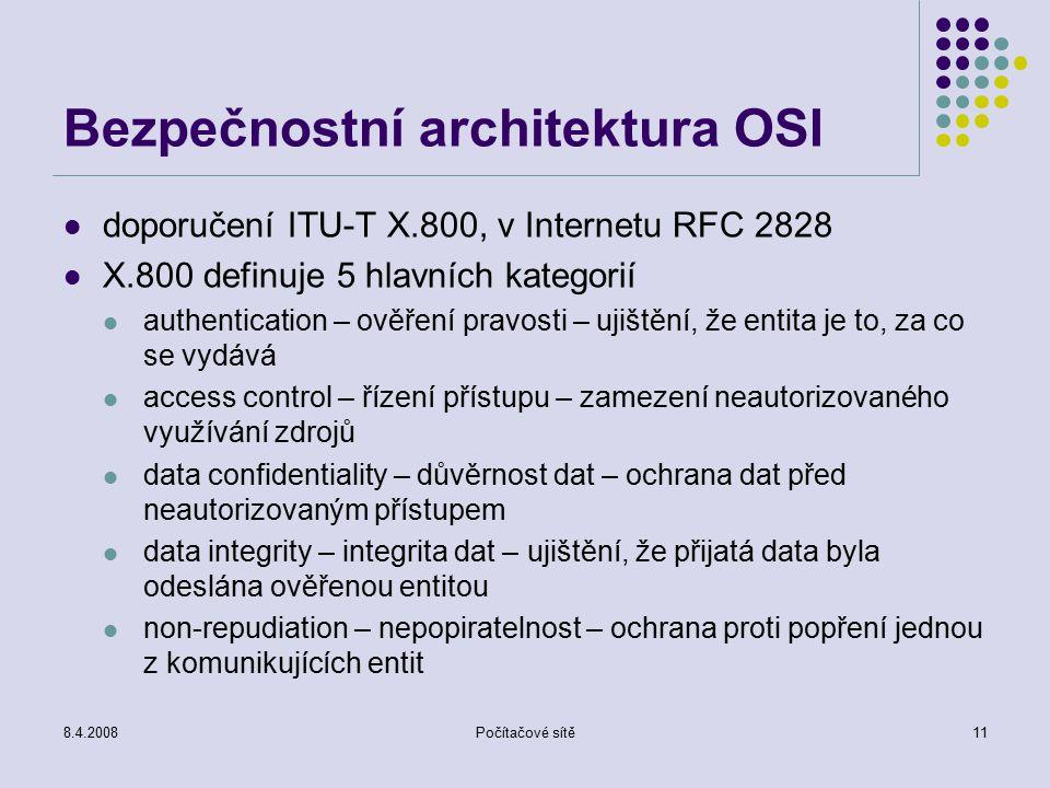 Bezpečnostní architektura OSI