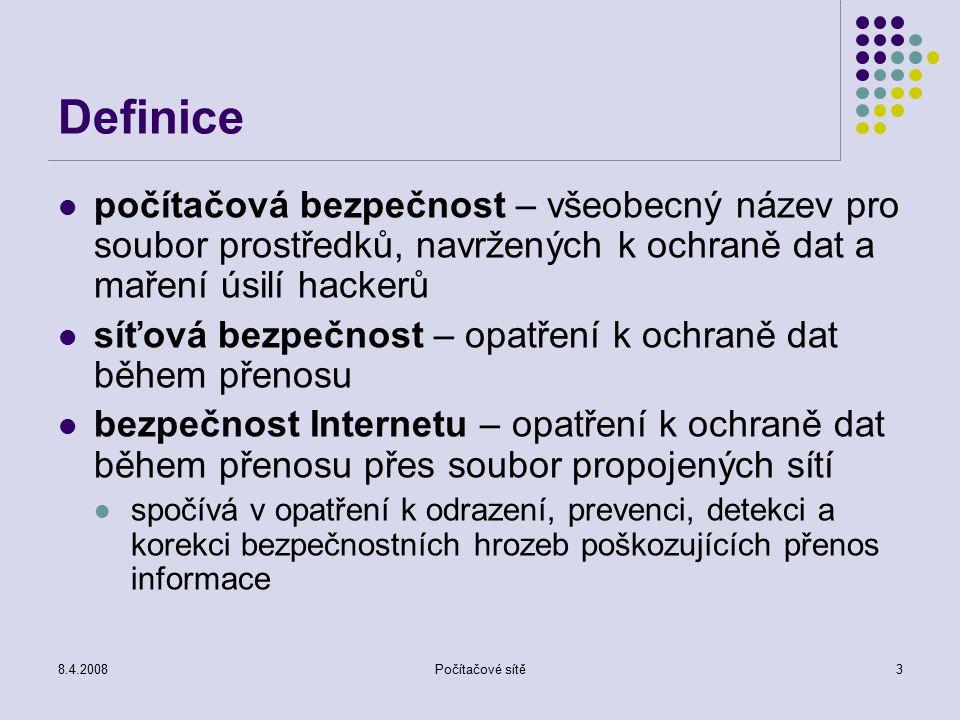 Definice počítačová bezpečnost – všeobecný název pro soubor prostředků, navržených k ochraně dat a maření úsilí hackerů.