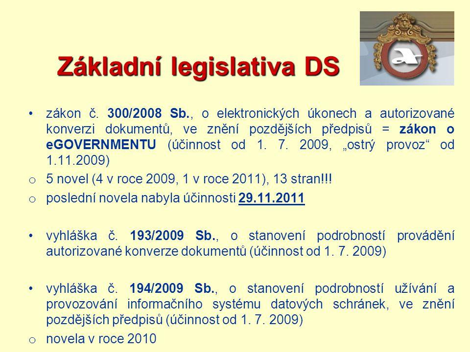 Základní legislativa DS