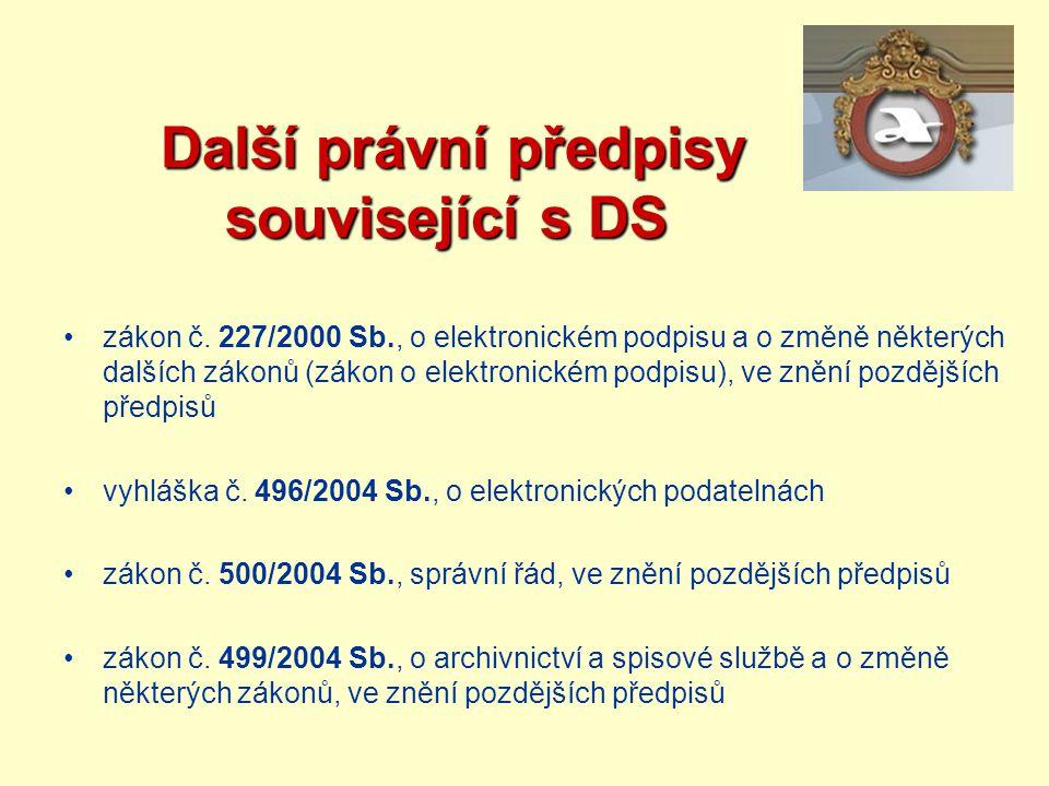Další právní předpisy související s DS