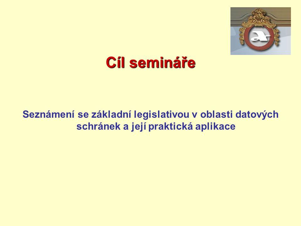 Cíl semináře Seznámení se základní legislativou v oblasti datových schránek a její praktická aplikace.