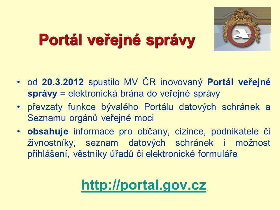 Portál veřejné správy http://portal.gov.cz