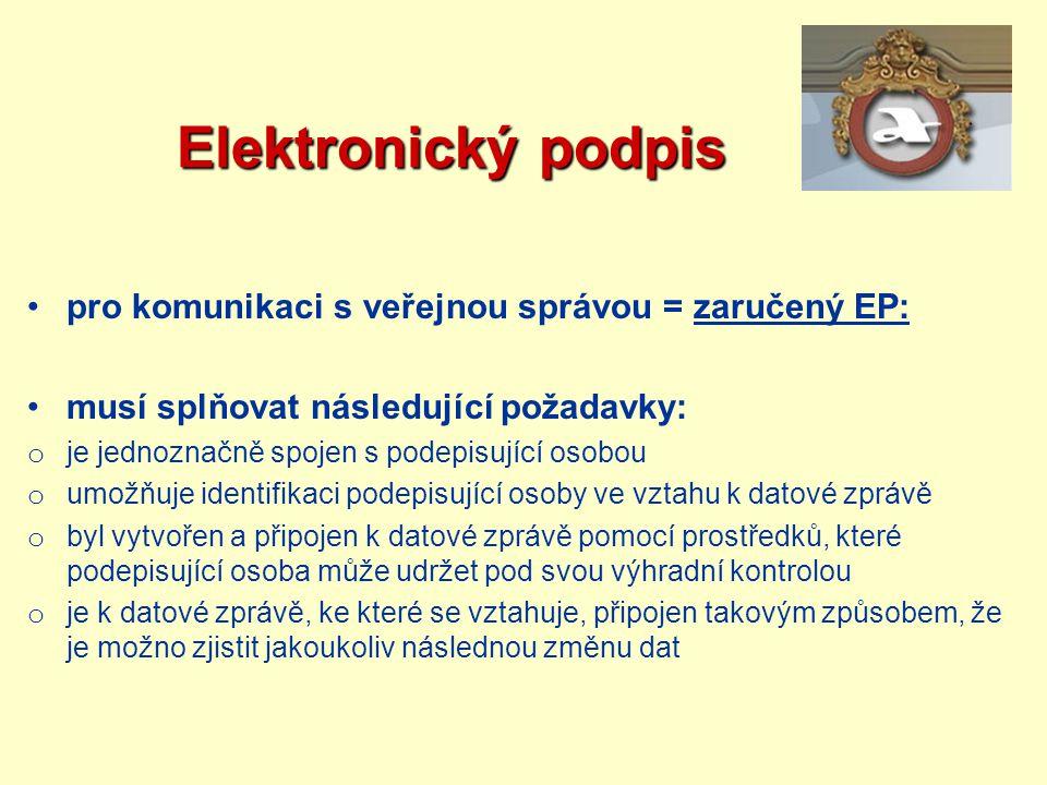 Elektronický podpis pro komunikaci s veřejnou správou = zaručený EP: