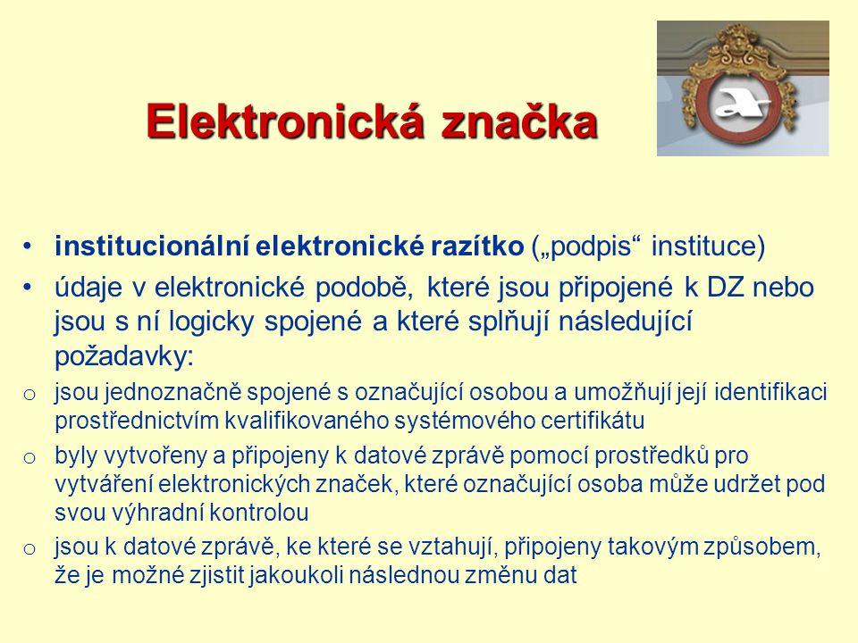 """Elektronická značka institucionální elektronické razítko (""""podpis instituce)"""