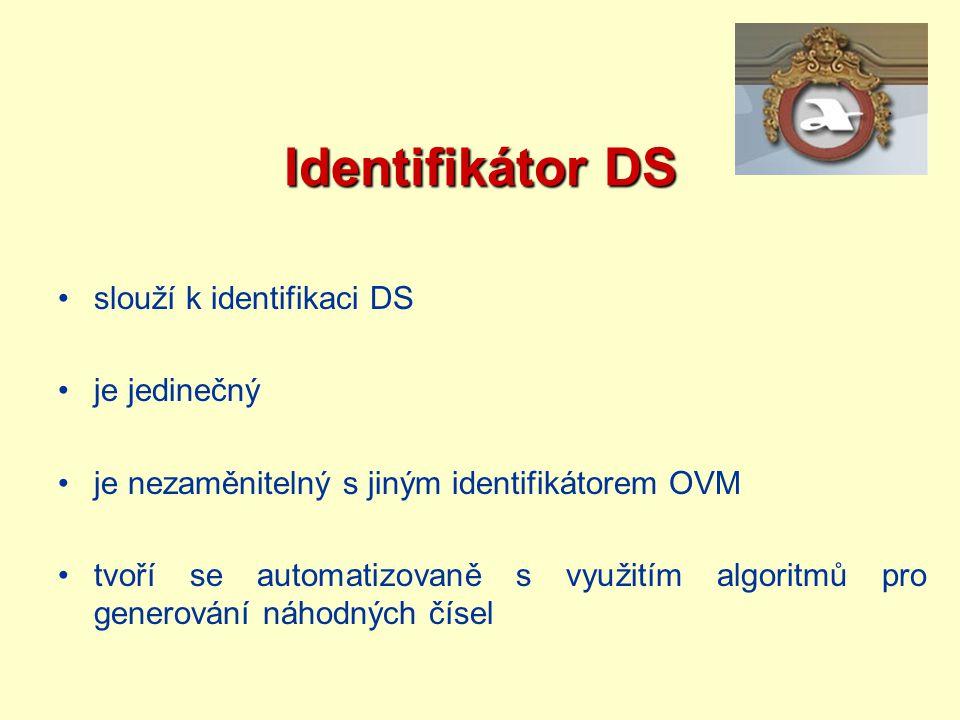 Identifikátor DS slouží k identifikaci DS je jedinečný