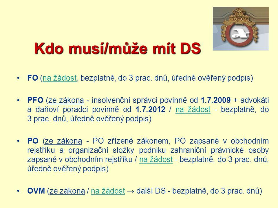 Kdo musí/může mít DS FO (na žádost, bezplatně, do 3 prac. dnů, úředně ověřený podpis)