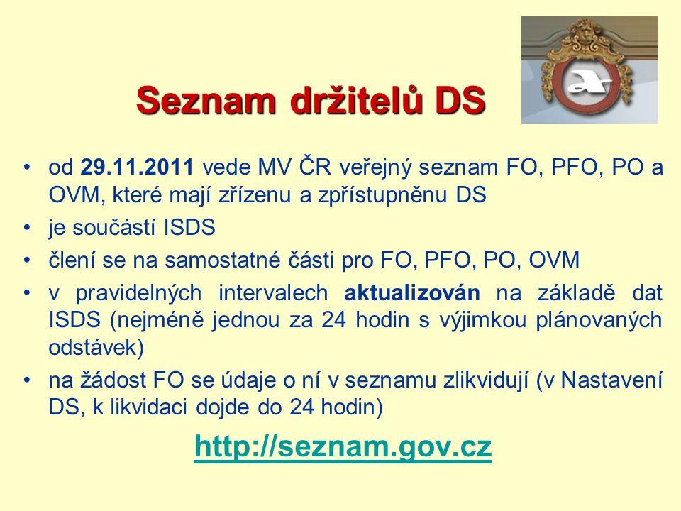 Seznam držitelů DS http://seznam.gov.cz