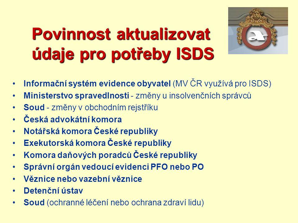 Povinnost aktualizovat údaje pro potřeby ISDS