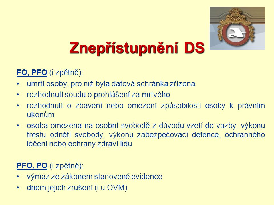 Znepřístupnění DS FO, PFO (i zpětně):
