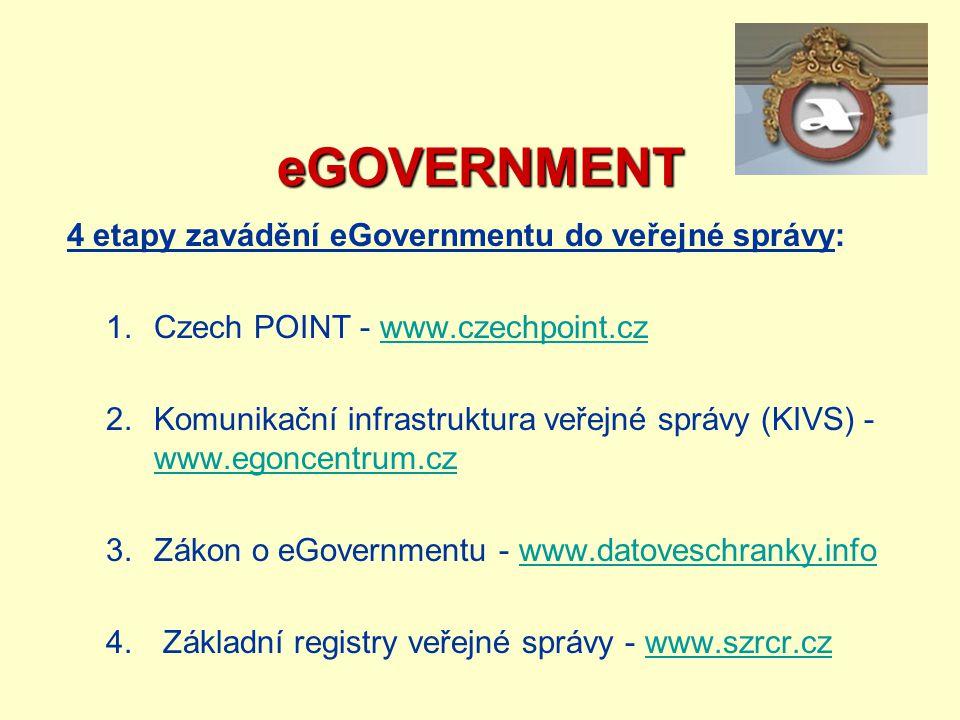eGOVERNMENT 4 etapy zavádění eGovernmentu do veřejné správy: