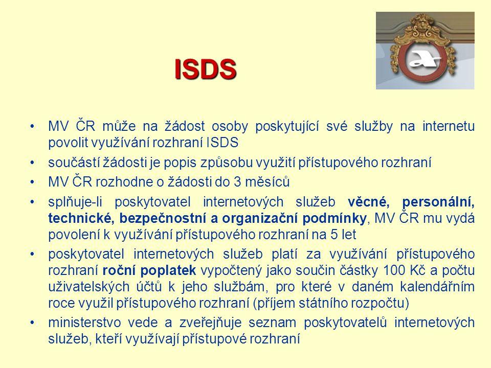 ISDS MV ČR může na žádost osoby poskytující své služby na internetu povolit využívání rozhraní ISDS.