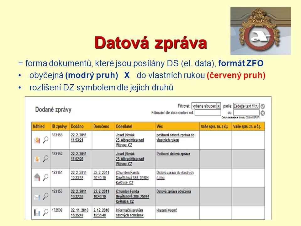 Datová zpráva = forma dokumentů, které jsou posílány DS (el. data), formát ZFO. obyčejná (modrý pruh) X do vlastních rukou (červený pruh)