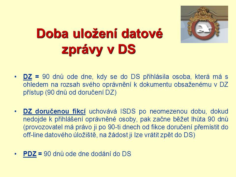 Doba uložení datové zprávy v DS