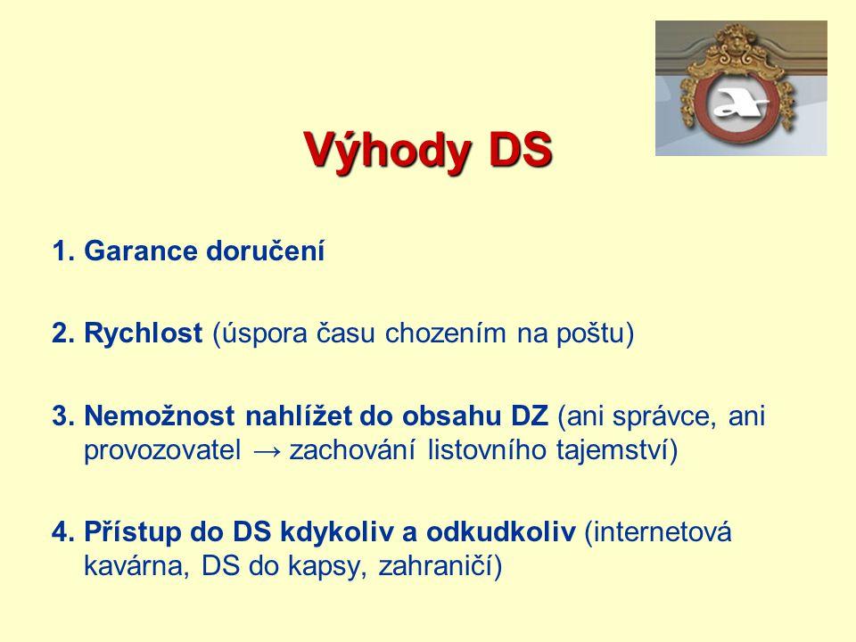 Výhody DS Garance doručení Rychlost (úspora času chozením na poštu)