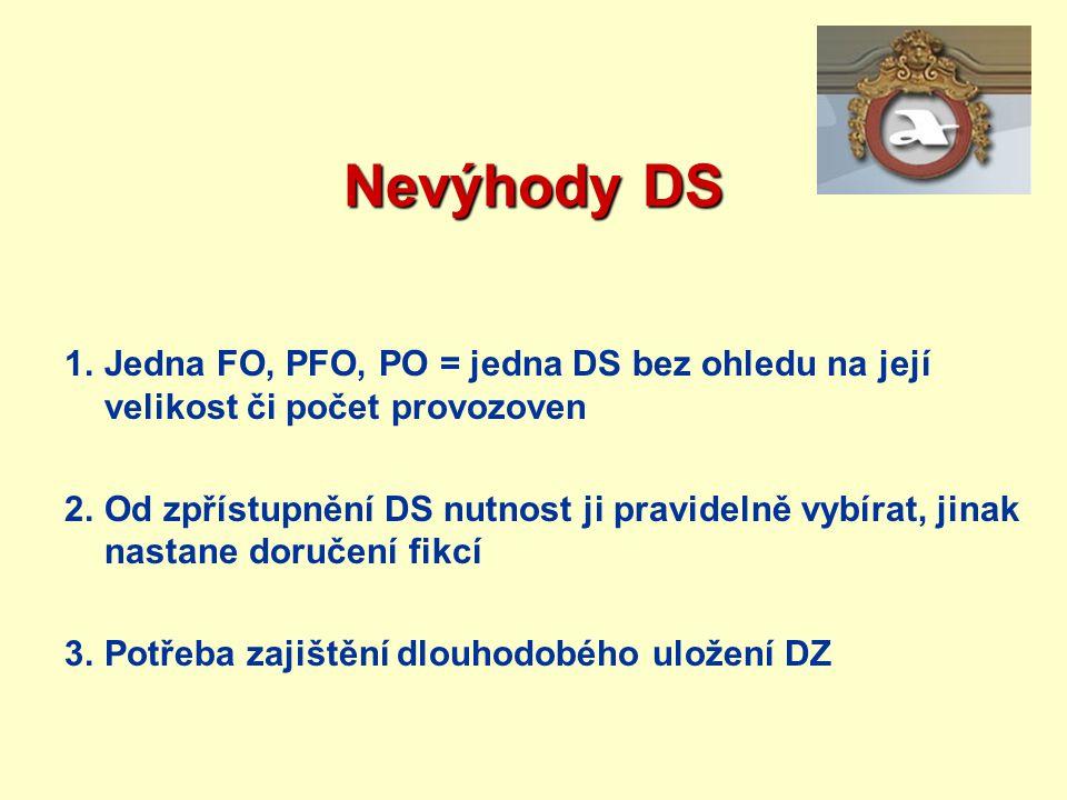Nevýhody DS Jedna FO, PFO, PO = jedna DS bez ohledu na její velikost či počet provozoven.