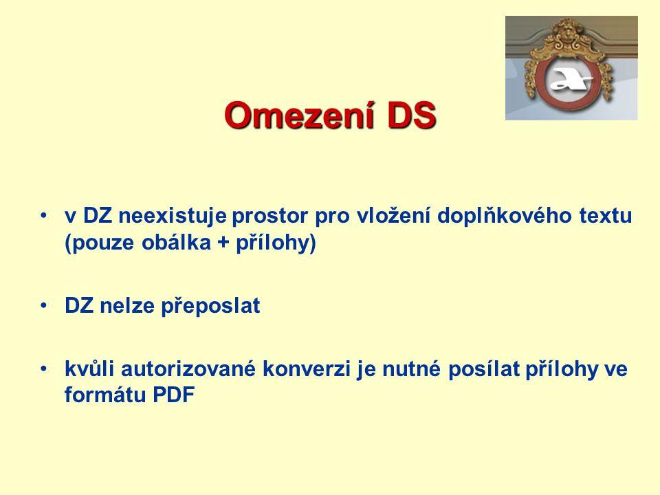 Omezení DS v DZ neexistuje prostor pro vložení doplňkového textu (pouze obálka + přílohy) DZ nelze přeposlat.