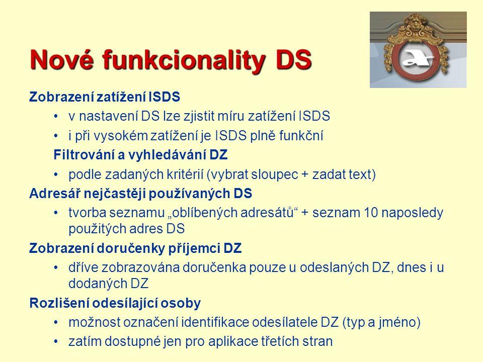 Nové funkcionality DS Zobrazení zatížení ISDS