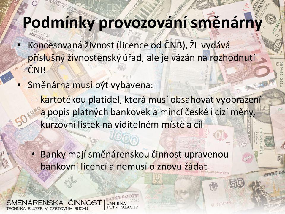 Podmínky provozování směnárny