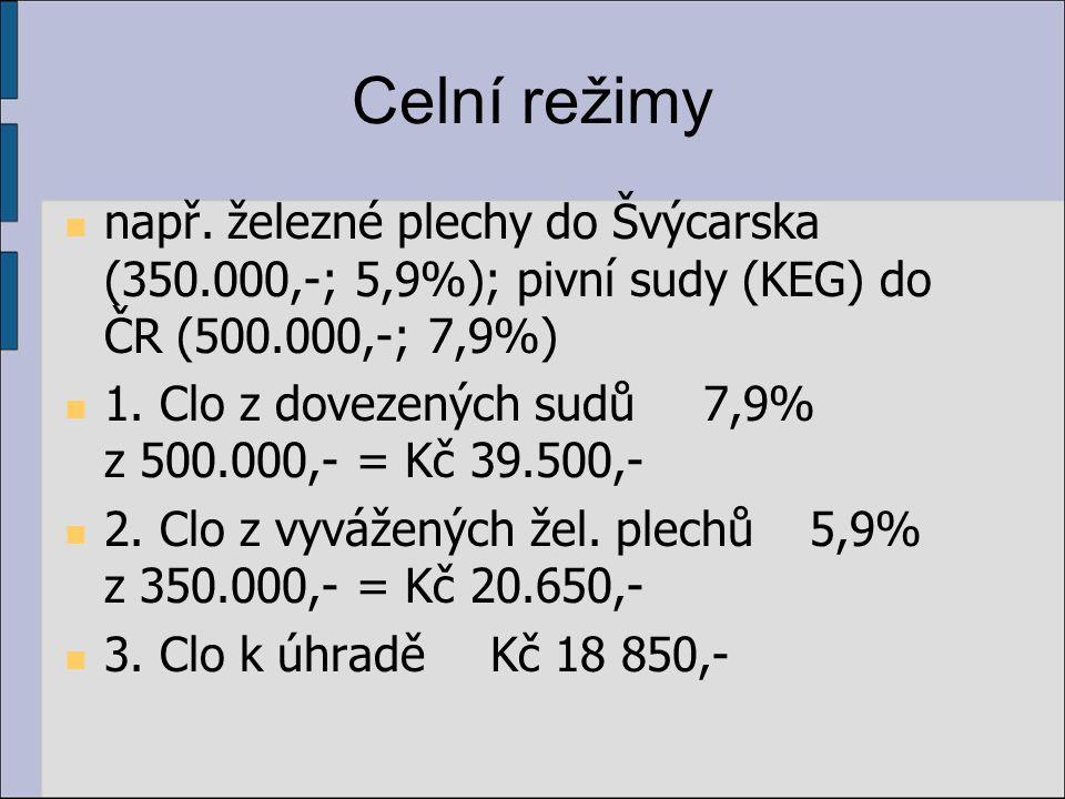Celní režimy např. železné plechy do Švýcarska (350.000,-; 5,9%); pivní sudy (KEG) do ČR (500.000,-; 7,9%)
