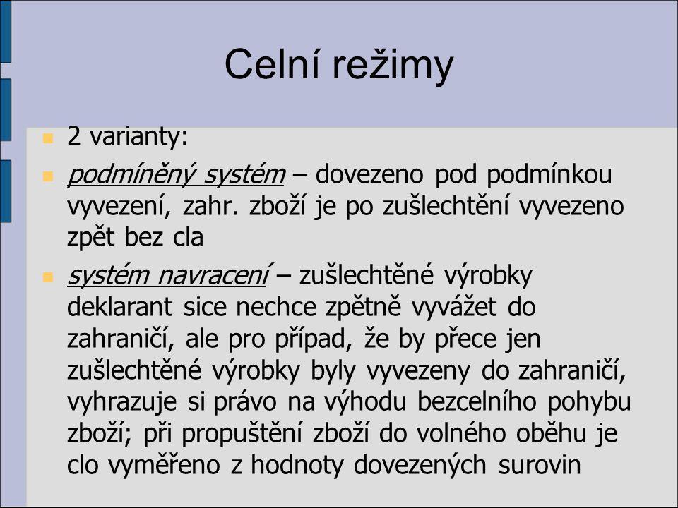 Celní režimy 2 varianty: