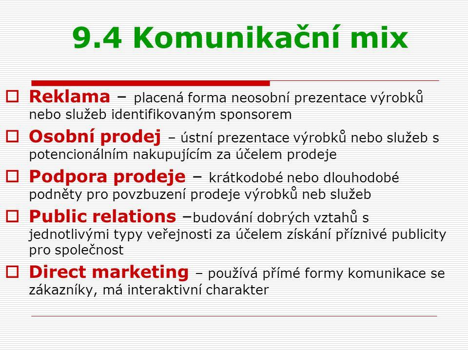 9.4 Komunikační mix Reklama – placená forma neosobní prezentace výrobků nebo služeb identifikovaným sponsorem.