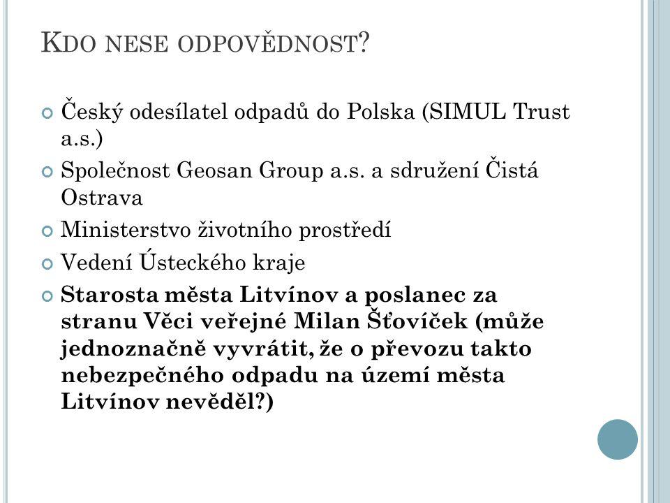 Kdo nese odpovědnost Český odesílatel odpadů do Polska (SIMUL Trust a.s.) Společnost Geosan Group a.s. a sdružení Čistá Ostrava.