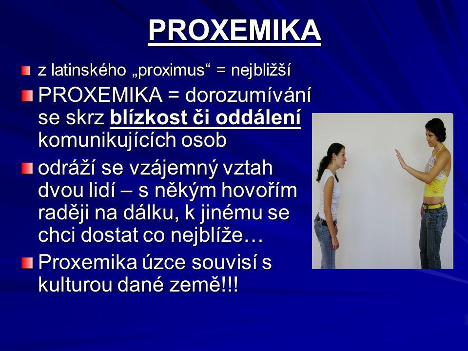 """PROXEMIKA z latinského """"proximus = nejbližší. PROXEMIKA = dorozumívání se skrz blízkost či oddálení komunikujících osob."""